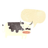 αγελάδα κινούμενων σχεδίων με τη λεκτική φυσαλίδα Στοκ φωτογραφία με δικαίωμα ελεύθερης χρήσης