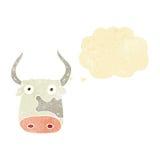 αγελάδα κινούμενων σχεδίων με τη σκεπτόμενη φυσαλίδα Στοκ Εικόνα