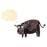 αγελάδα κινούμενων σχεδίων με τη σκεπτόμενη φυσαλίδα Στοκ Φωτογραφία
