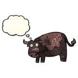 αγελάδα κινούμενων σχεδίων με τη σκεπτόμενη φυσαλίδα Στοκ φωτογραφία με δικαίωμα ελεύθερης χρήσης