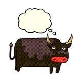 αγελάδα κινούμενων σχεδίων με τη σκεπτόμενη φυσαλίδα Στοκ Φωτογραφίες