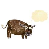 αγελάδα κινούμενων σχεδίων με τη σκεπτόμενη φυσαλίδα Στοκ Εικόνες