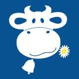 Αγελάδα που ένα εικονίδιο μαργαριτών μπλε και άσπρος Στοκ Εικόνες