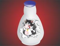 Αγελάδα στο botle Στοκ εικόνα με δικαίωμα ελεύθερης χρήσης
