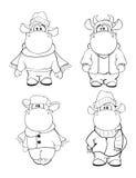 αγελάδες ευτυχείς Συνδετήρας-τέχνη cartoon γραφική απεικόνιση χρωματισμού βιβλίων ζωηρόχρωμη διανυσματική απεικόνιση