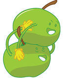 αγκάλιασμα κινούμενων σχεδίων μήλων εύθυμο Στοκ εικόνα με δικαίωμα ελεύθερης χρήσης