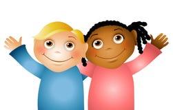 αγκάλιασμα 2 φίλων παιδιών απεικόνιση αποθεμάτων