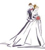 Αγκάλιασμα γαμήλιων ζευγών Σκιαγραφία της νύφης και του νεόνυμφου Στοκ Εικόνα