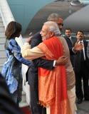 Αγκάλιασμα modi Obama Στοκ Εικόνα