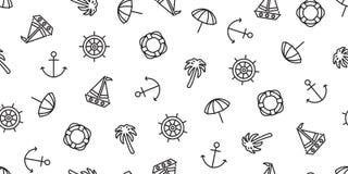 Αγκύρων ο άνευ ραφής σχεδίων διανυσματικός βαρκών τιμονιών κολυμπώντας δαχτυλιδιών φοινίκων ωκεανός θάλασσας πειρατών θαλάσσιος ν απεικόνιση αποθεμάτων