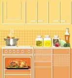 Αγνοημένο κοτόπουλο ψητού σε έναν φούρνο Μμένα τρόφιμα στην κουζίνα διανυσματική απεικόνιση