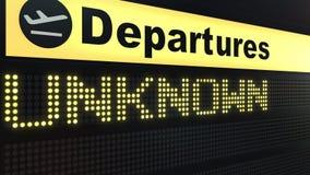 ΑΓΝΩΣΤΗ λέξη που εμφανίζεται στον πίνακα αναχώρησης αερολιμένων τρισδιάστατη εννοιολογική απόδοση Στοκ φωτογραφίες με δικαίωμα ελεύθερης χρήσης