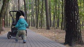 Αγοράκι που λαμβάνει τα πρώτα μέτρα του στο πάρκο Ημέρα φθινοπώρου απόθεμα βίντεο