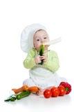 Αγοράκι που τρώει τα υγιή λαχανικά τροφίμων Στοκ εικόνα με δικαίωμα ελεύθερης χρήσης