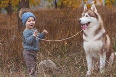 Αγοράκι στο δάσος με το γεροδεμένο σκυλί Στοκ φωτογραφία με δικαίωμα ελεύθερης χρήσης