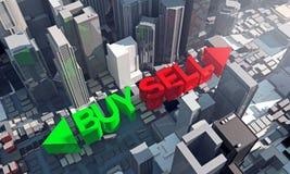 Αγοράστε ή πωλήστε το προτέρημα ιδιοκτησιών και οικοδόμησης για την επένδυση ελεύθερη απεικόνιση δικαιώματος