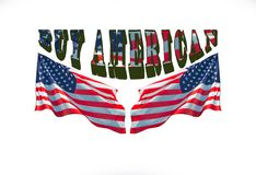 Αγοράστε Αμερικανό για καμένος στο λογότυπο αμερικανικών προϊόντων Στοκ φωτογραφία με δικαίωμα ελεύθερης χρήσης