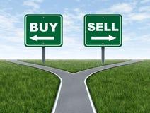 Αγοράστε και πωλήστε τα σταυροδρόμια διλήμματος απόφασης απεικόνιση αποθεμάτων