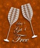 Αγοράστε 1 παίρνει γυαλιά 1 τα ελεύθερα κρασιού Στοκ Εικόνες