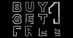 Αγοράστε 1 παίρνει 1 ελεύθερο κείμενο στο μαύρο υπόβαθρο απόθεμα βίντεο