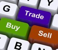 Αγοράστε το εμπόριο και πωλήστε τα κλειδιά αντιπροσωπεύει το εμπόριο on-line Στοκ Εικόνες