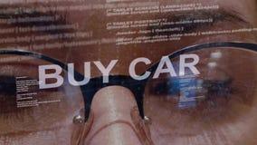 Αγοράστε το κείμενο αυτοκινήτων στο υπόβαθρο του θηλυκού υπεύθυνου για την ανάπτυξη απόθεμα βίντεο