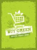 Αγοράστε το πράσινο κάρρο αγορών Eco Φιλική διανυσματική έννοια φύσης οργανικής τροφής Στοκ Φωτογραφία