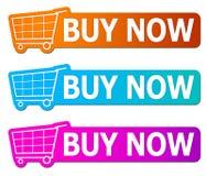 Αγοράστε τώρα τα σημάδια Στοκ Εικόνα