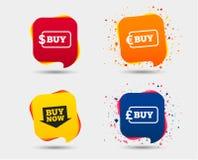 Αγοράστε τώρα το σημάδι βελών Σε απευθείας σύνδεση εικονίδια αγορών διανυσματική απεικόνιση