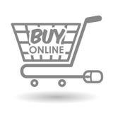 Αγοράστε on-line πέρα από το άσπρο υπόβαθρο, σχέδιο κάρρων αγορών διανυσματική απεικόνιση