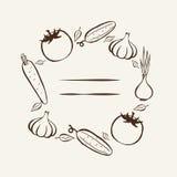 Αγορά αγροτών Πλαίσιο για τις επιλογές Πρότυπο σχεδίου τροφίμων Εκλεκτής ποιότητας λαχανικά λογότυπων συρμένος εικονογράφος απεικ Στοκ Φωτογραφία