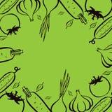 Αγορά αγροτών Πλαίσιο για τις επιλογές Πρότυπο σχεδίου τροφίμων Εκλεκτής ποιότητας λαχανικά λογότυπων συρμένος εικονογράφος απεικ Στοκ Φωτογραφίες