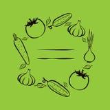 Αγορά αγροτών Πλαίσιο για τις επιλογές Πρότυπο σχεδίου τροφίμων Εκλεκτής ποιότητας λαχανικά λογότυπων συρμένος εικονογράφος απεικ Στοκ εικόνα με δικαίωμα ελεύθερης χρήσης
