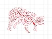 Αγορά αρκούδων στο χρηματιστήριο Στοκ Φωτογραφίες