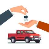 Αγορά ενός νέου ή χρησιμοποιημένου ανοιχτού φορτηγού διανυσματική απεικόνιση