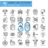Αγορά και οικονομία, λεπτά εικονίδια γραμμών καθορισμένα διανυσματική απεικόνιση