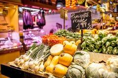 αγορά Λα boqueria της Βαρκελώνη&sig Στοκ Εικόνες