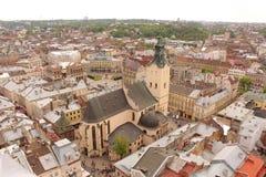 Αγορά τετραγωνικό Lviv, καθεδρικός ναός Στοκ Φωτογραφία