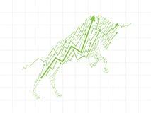 Αγορά του Bull στο χρηματιστήριο Στοκ εικόνες με δικαίωμα ελεύθερης χρήσης