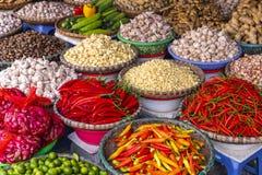 Αγορά φρούτων και λαχανικών στο Ανόι, παλαιό τέταρτο, Βιετνάμ, Ασία στοκ εικόνες