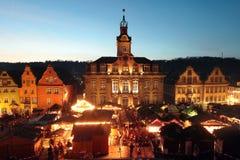 Αγορά Χριστουγέννων στην αίθουσα Γερμανία Schwaebisch Στοκ Εικόνα