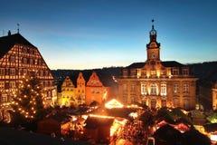 Αγορά Χριστουγέννων στην αίθουσα Γερμανία Schwaebisch Στοκ φωτογραφίες με δικαίωμα ελεύθερης χρήσης