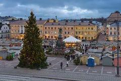 Αγορά Χριστουγέννων στο τετράγωνο Συγκλήτου του Ελσίνκι, Φινλανδία στοκ φωτογραφίες