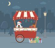 Αγορά Χριστουγέννων στο υπόβαθρο πόλεων Στοκ Φωτογραφίες