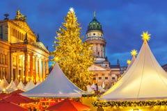 αγορά Χριστουγέννων του Βερολίνου Στοκ Εικόνες