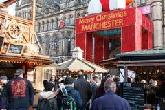 Αγορά Χριστουγέννων του Μάντσεστερ Χαρούμενα Χριστούγεννας Στοκ Εικόνα