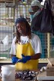 Αγορά ψαριών - τύπος στα ψάρια καθαρισμού Στοκ Εικόνα
