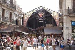 Αγορά Boqueria - αγορά πόλεων στη Βαρκελώνη Είσοδος από το RA στοκ φωτογραφίες με δικαίωμα ελεύθερης χρήσης