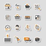 Αγορές Διαδικτύου και σύνολο εικονιδίων αυτοκόλλητων ετικεττών παράδοσης Στοκ εικόνα με δικαίωμα ελεύθερης χρήσης
