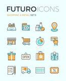 Αγορές και λιανικά εικονίδια γραμμών futuro διανυσματική απεικόνιση